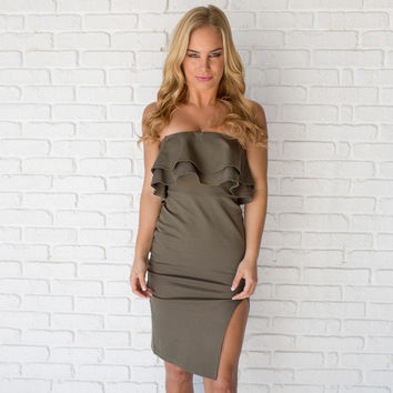 Lead The Way Dress In Olive