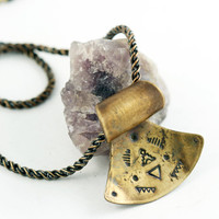 Mesa Necklace, Southwestern Style Statement Necklace, Brass Bohemian Jewelry, hand-stamped metalwork pendant