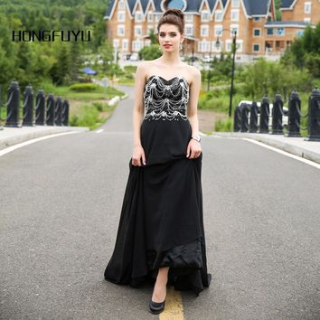 Black Beaded Evening Dresses Long Chiffon Evening Party Gown