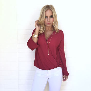Wrapped in Love Blouse In Wine