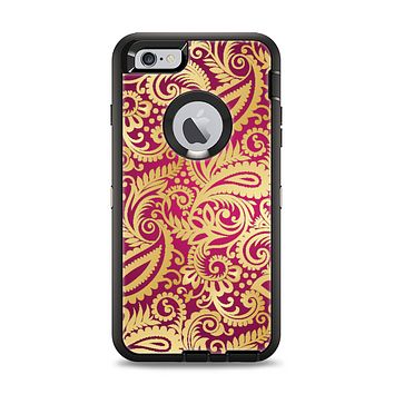 The Gold and Red Paisley Pattern Apple iPhone 6 Plus Otterbox Defender Case Skin Set