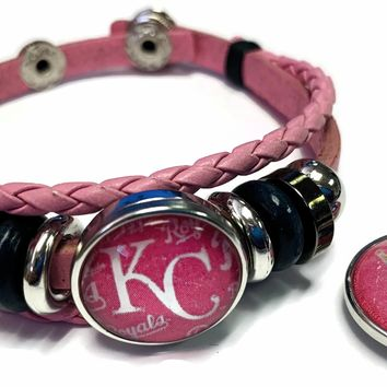 Breast Cancer Awareness MLB Kansas City Royals Pink Leather Bracelet W/2 Snap Jewelry Charms New Item