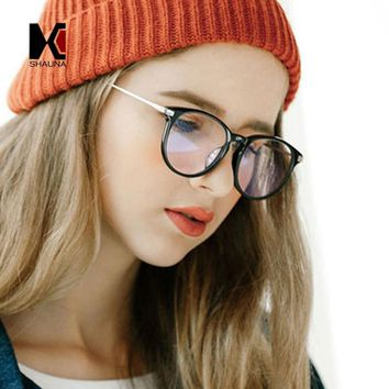 SHAUNA Retro Women Round Eyeglasses Frame Brand Designer Fashion Men Optical Glasses Reading Glasses