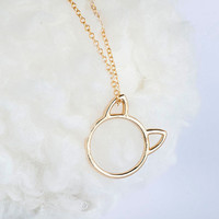 Gold Cat Ear Ring Long Necklace, 3-Way Wear, Whimsical Animal Jewelry