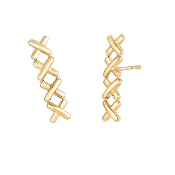 14K Yellow Gold 17x4.2mm Shiny 4 Small X Ear Climber with Push Back Clasp
