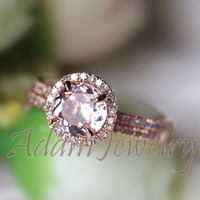 Morganite Ring Set! Round Cut  7mm VS  Halo 14K Rose Gold Morganite Ring  SI/H Diamonds Wedding Band /Engagement Ring/ Promise Ring