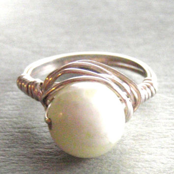 New Jade (Yellow) Sterling Silver Wire Wrapped Ring