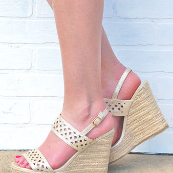 Summer is Calling Metallic Wedges-Gold
