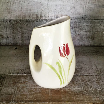 Pitcher Mid Century Pictcher Rustic Handmade Vase Tulip Vase Homemade Pitcher Clay Flower Vase Farmhouse Chic Water Pitcher Ceramic Pitcher