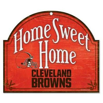 "CLEVELAND BROWNS HOME SWEET HOME ARCHED WOOD SIGN 10""x11"" BRAND NEW WINCRAFT"