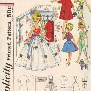 "Simplicity 4883 Sewing Pattern 1960s 12"" Tammy Doll Wardrobe Gown Apron Pants Jacket Accessories Barbie Mattel"