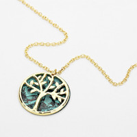 Patina Gold Tree Of Life Silver Disc Necklace