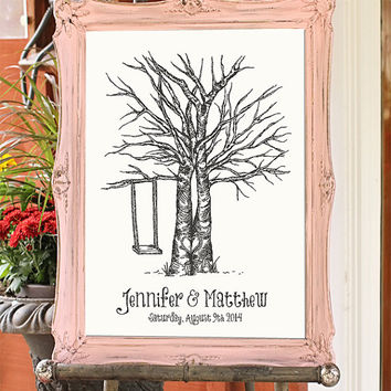 Wedding Fingerprint Tree, Wedding Guestbook DIY PRINTABLE PDF