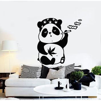 Vinyl Wall Decal Relax Panda Smoke Weed Marijuana Animal Stickers Mural (g653)