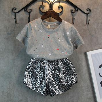 New Kids Summer Fashion Children Clothing Baby Girl Clothes Paint Point Short Sleeves + Leopard Pants Suit Grils Student Clothes