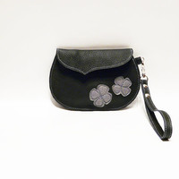 leather wristlet clutch black small handbag grey flowers purse women small handbag