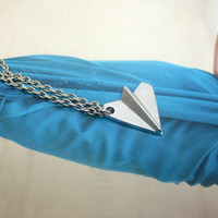 One Direction paper airplane Necklace, Harry Style Paper Airplane Charm Necklace