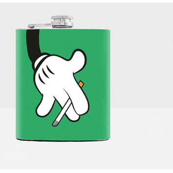 Flask / Smoking Mickey Mouse /  Hip flask / Bad Mickey Mouse / Green / 7oz flask