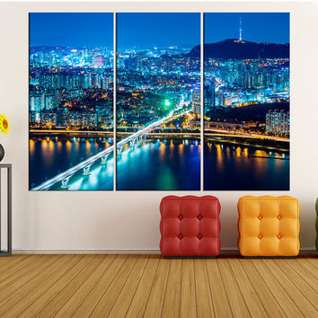 Seoul skyline wall art Print, extra large wall art, large Seoul night skyline canvas print city Skyline photo print, korea iki53