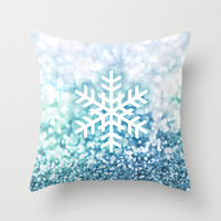 Geometric snowflake in blue sparkly blackground Throw Pillow by BlursbyaiShop