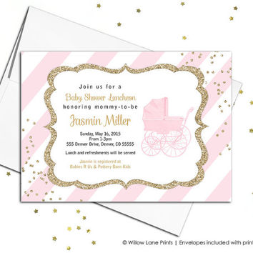 blush pink and gold baby shower invites for baby girls invitations with stripes and a baby carriage - printable or printed - WLP00736