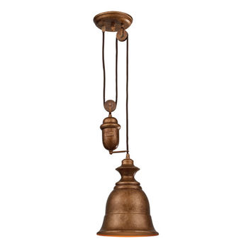 Elk Lighting 65060-1 Farmhouse Bellwether Copper Pulley Adjustable Height One Light Mini Pendant
