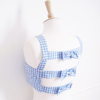 Gingham Crop Top, Open Back Top, Rockabilly Bra Top, Bow Back Top, Gingham Bra Top, Cage Back Crop Top, Size: XS/S/M/L Choice of Colours