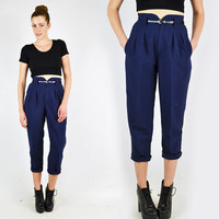 vtg 80s 90s grunge revival preppy NAVY blue high waist waisted SKINNY leg fit PLEATED trouser dress pants S
