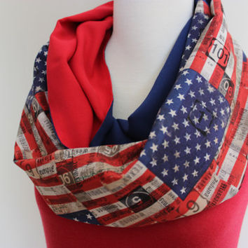 Map Print Scarf, Map Scarf, American Flag Scarf, America, America Scarf, Red Scarf Blue Scarf Patriotic Scarf, Stars, USA, Map Pattern Scarf