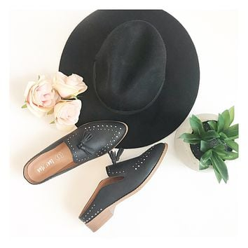 Studded Black Leather Mules