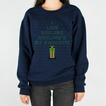 Elf Smiling's My Favorite Ugly Christmas Sweatshirt