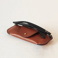 MEKU Handcrafted Genuine Leather Eyeglasses Holder Sunglasses Case for Him / Her Christmas Gift ★(Brown)