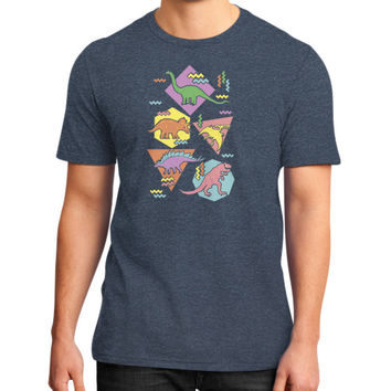 Nineties Dinosaur Pattern District T-Shirt (on man)