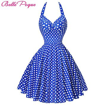 Belle Poque Sexy Summer Beach Dress pin up 2017 Retro Vintage Plus Size Women Clothing 50s 60s Big Swing Polka Dot Dresses