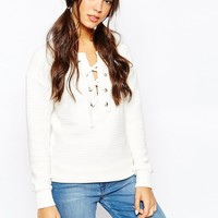 Daisy Street Textured Sweatshirt with Lace Up Front