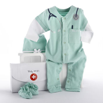 """Baby M.D. Three-Piece Layette Set in """"Doctor's Bag"""" Gift Box"""