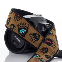 Bear Print Camera Strap, dSLR, Spirit Symbols, Canon Camera Strap, Nikon Camera Strap, SLR, Mens Camera Strap, Mirrorless camera, 246
