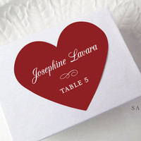 Wedding Place Card Stickers, Red Heart Labels, Printed Escort Cards, Placement Valentine Cards, Favor Stickers, Valentine Seals, Set of 15