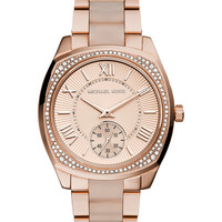 Michael Kors Women's Bryn Blush Acetate and Rose Gold-Tone Stainless Steel Bracelet Watch 40mm MK6135