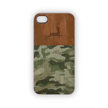 Camouflage Deer Hunter iPhone Case Forest Green Brown Wood Rustic Woodland Men Him Country Hunting 5S 5 4S 4 Hunting Thanksgiving Christmas