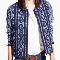 Navy Tribe and Geometric Pattern Long Sleeve Coat