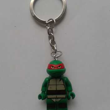 Tmnt Turtles raphael minifigure keychain keyring made with LEGO® bricks