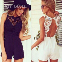 Women Rompers Bodysuit 2016 Fashion Summer  Sexy Lace Backless Patchwork Sleeveless Jumpsuit Overalls 2 Colors S-XL