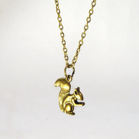 Squirrel Bronze Charm Necklace Any Length 25% OFF SALE
