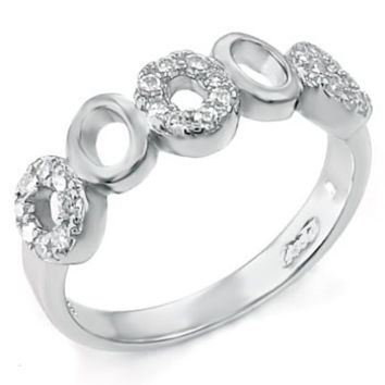 Sterling Silver Round Cut CZ Infinity Wedding Band Size 5-9