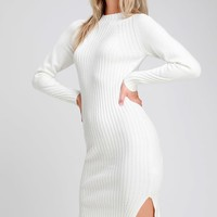 Snuggle Party Ivory Mock Neck Midi Sweater Dress