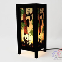 Bedside Lamps Wooden Table Lantern Panda Family Bedroom Decoration 11 inch high.