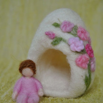 Needle felted Fairy House /Soft  Sculpture:   Baby house with pink roses