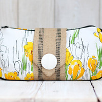 Yellow and White Floral Clutch Made From Vintage Vera Fabric