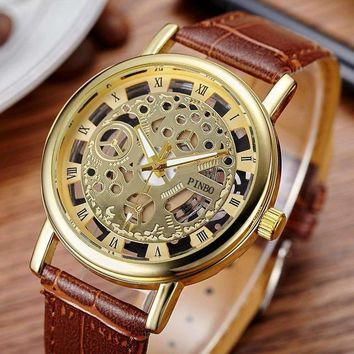 Casual Leather Men Skeleton Watch